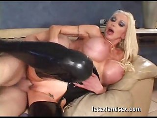 Latex busty blonde in kinky hardcore sex