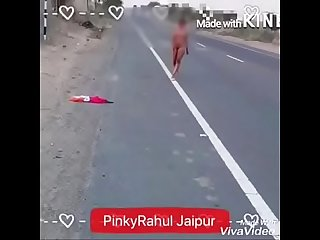 Indian daring desi walking nude in public road in daytime