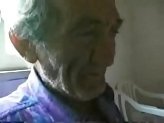 Pervert teen jerking very old italian man. Home made