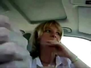Sexy cheating cheating wife giving a blowjob in car