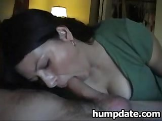 Sexy housewife gives blowjob and swallows