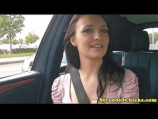Hitchhiking brunette flashes her tits