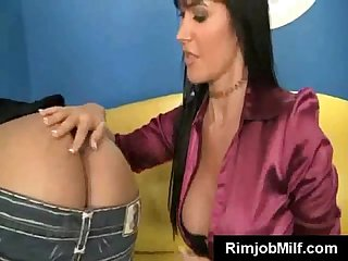 Asss eating milf deepthroats young cock