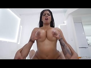 Big booty Latina rides a big dick and gets a load in the mouth