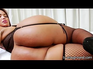 Red hot busty tgirl bianca petrovicky teases and masturbates