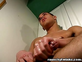 Hot Hunk Used Oil In The Kitchen And Jerks Off