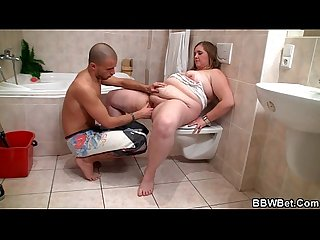 Horny guy bangs bbw in the bathroom