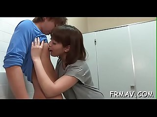 Appealing oriental darling gives fantastic oral and handjob