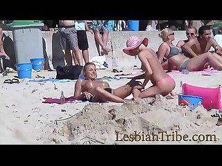 teens lesbians public kissing and massage on the beach
