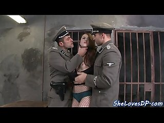 Innocent babe double penetrated by soldiers