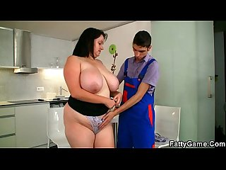 Bbw seduces slim repairman for money