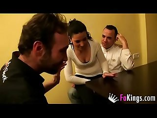 Tricking a 18 years old gipsy young teen into having a threesome with david and pablo