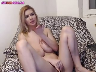 Thin Camgirl with massive hanging tits
