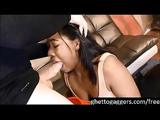 (new) Petite Ashanti Miller throated and pukes a gallon at ghetto gaggers