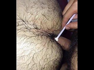 Metendo pad no Cu do namorado com a rola