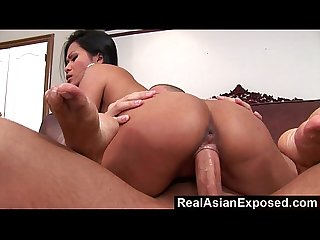 Realasianexposed big boobed asian loves a stiff cock up her ass