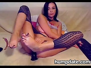Hot fetish slut toying and fisting both holes