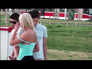 Very cute young girl risky public gangbang threesome with 2 teen guys