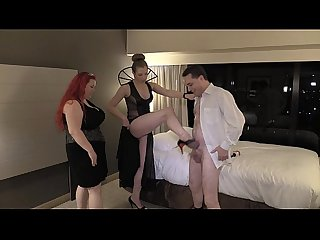 Ballbusting lesson: Lady Victoria NYC and Mistress Summer Storm on Andrea Diprè