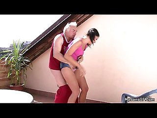 Cheating girlfriend sucks and riding old cock