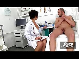 Sexy uniform lady jerks off A boy patient feat doctor marta