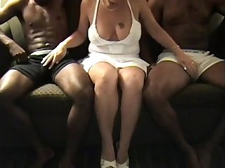 Horny busty wife and two black studs on cuckold666 com
