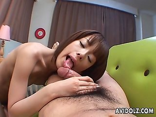 Relentless dick sucking from a skinny and horny asian chick