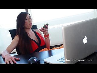 Venus Lux Strokes Her Hard Cock For Orgasm