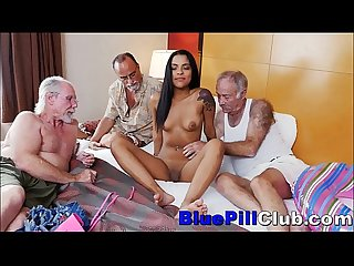 Latina Teen Slut Fucks Three Old Dudes