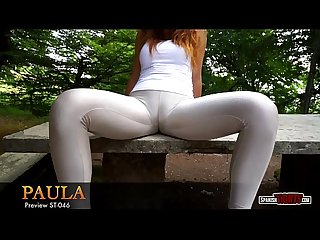 Spanish teen paula in shiny grey tights