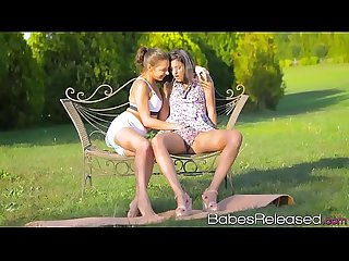 Naughty babes have outdoor lesbian sex