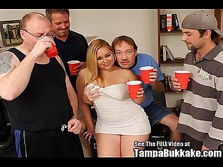 Chubby blonde cum swallower bukkake gangbang