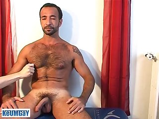 Handsome mature arab sport guy gets wanked his big dick by us