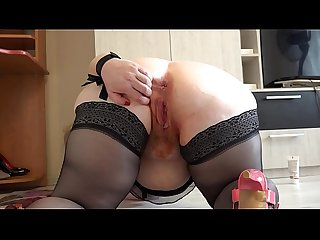 Busty milf with a hot plum pussy and with a big ass masturbates and pushes the plum out of the..