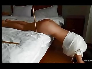 Slender Tamara punished with the cane