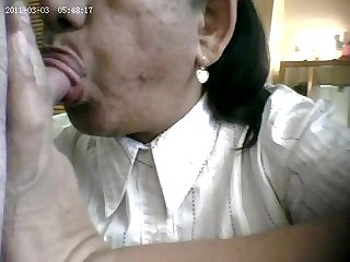 Granny sucking boy s little dick at work