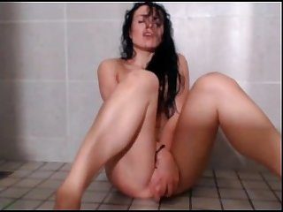 Hot babe plays and masturbates in shower period more at 747cams period com