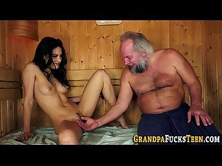 Slut sucks old grandad