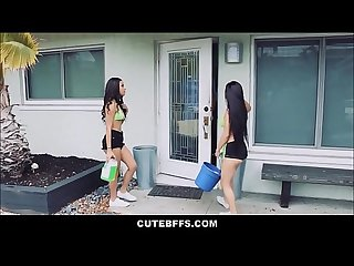 Teen Girls Maya Bijou And Crystal Rae Fuck Lucky Guy Getting Money For Car Wash Fundraiser