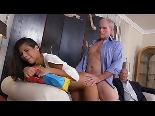 Brunette beauty Victoria valencia takes facial from old man