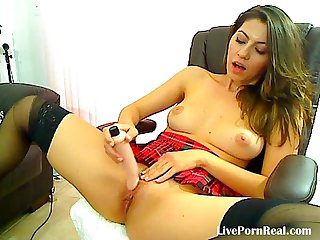 Hot brunette playing with a dildo on a chair lpar 4 rpar period flv