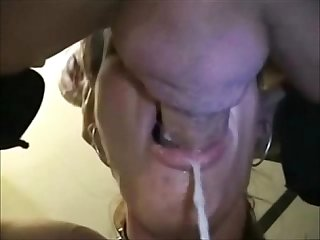 Horny amateur MILF sucks his hard cock