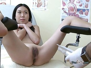 Asian chick gets vaginal probing from doctor