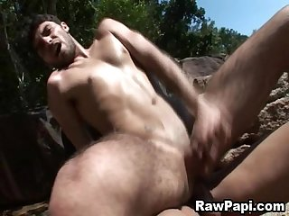 Cute latino do bareback outdoor