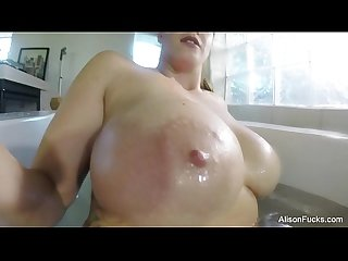 Alison Tyler rubs herself down
