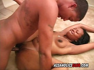 Black beauty enjoys having sex on the floor