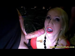 Busty milf slut introduced to bukkake