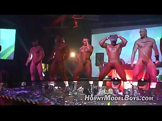 Horny strippers cum in club