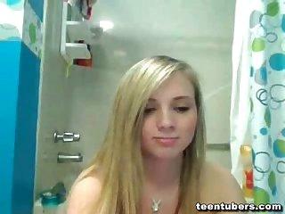 Shower cam of big booty teen blonde