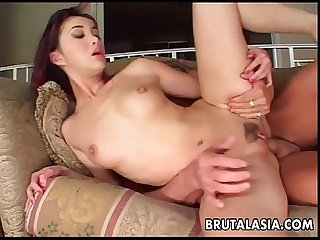 Asian slut Katsuni takes a big dick in her anus
